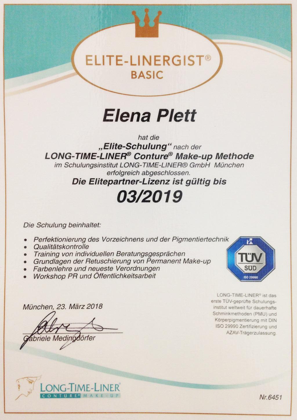Zertifikat Elite-Schulung nach der LONG-TIME-LINER® Conture® Make-up Methode
